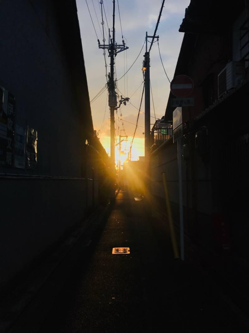 Sunset from Risshisha`s neigborhood